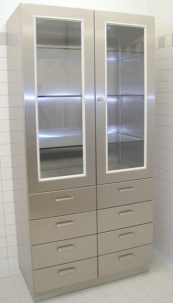 Upright Cabinet 2 Hinged Glass Doors With Drawers