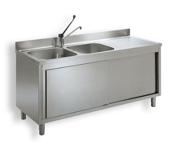 Double bowl sink cabinet