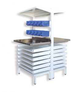 PHARMACY SHELVING WITH LIN BINS