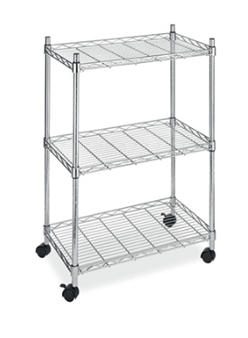 WIRE SHELF UNIT ON WHEELS